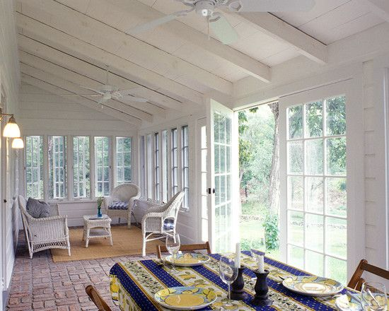 Open back porch design pictures remodel decor and ideas for Farmhouse sunroom ideas