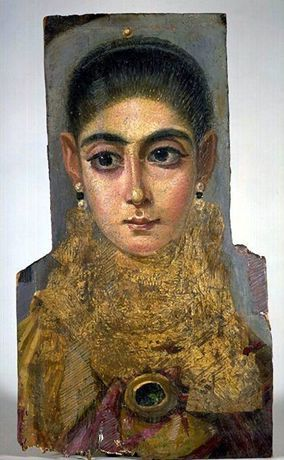 Fayum Funeral Portrait, Mummy Portrait of a Woman, Antinoopolis, End of the Reign of Trajan, 98-117 A.D., Wax portrait on wood, Louvre, Paris