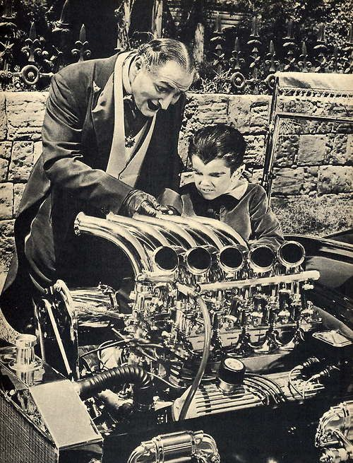 Grandpa and Eddie: Eddie volunteers Herman in a drag-strip competition. After souping up the Munster Coach and dressing in black leathers and talking like Marlon Brando from The Wild One, Herman loses his car in a bet on a drag race.