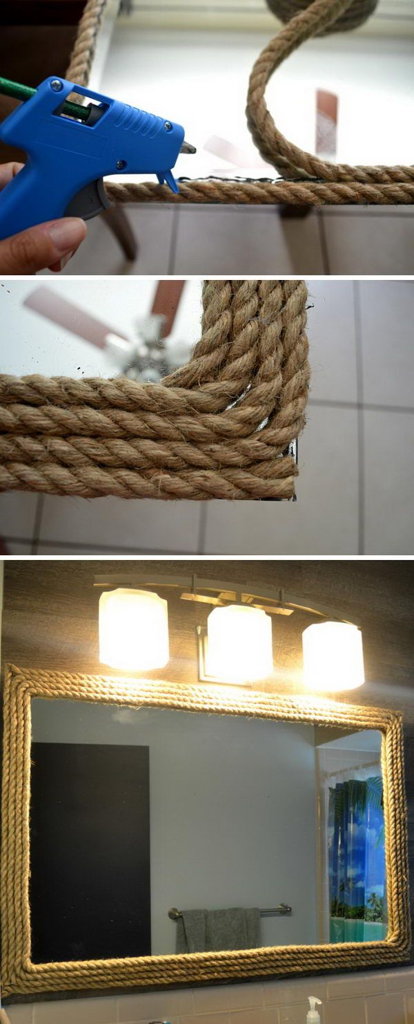 Mirror Decorated With Rope Twine For A Nautical Look.