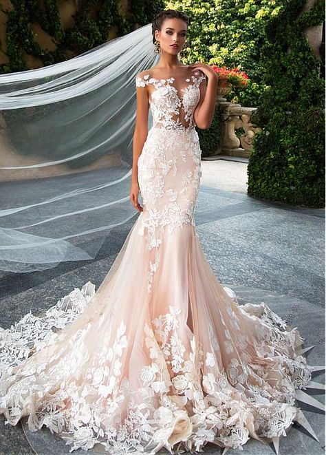 [292.00]  Glamorous Tulle Jewel Neckline See Through Bodice Mermaid Wedding Dresses