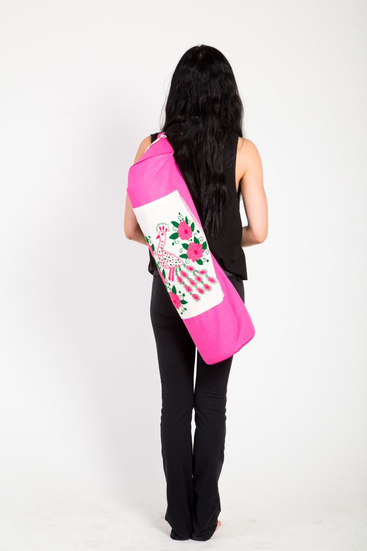 mexican embroidered bird in yoga tote