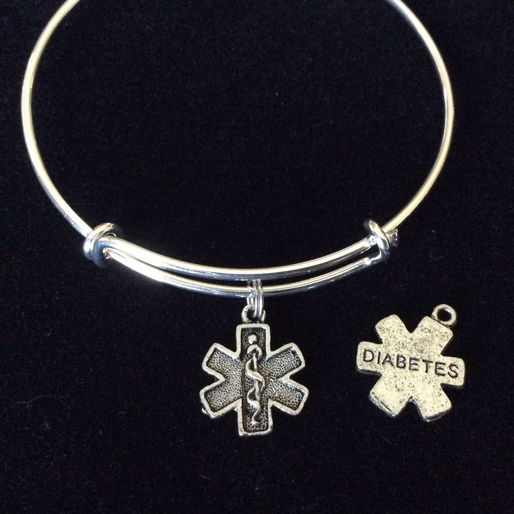 Silver Diabetic Medical Alert Double Sided Charm On An