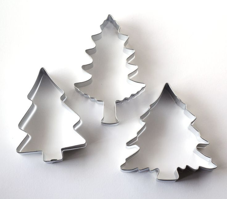 """Use our pine tree cookie cutters to make cookies for winter, woodland or Christmas cookies and treats. Set of 3 pine tree cookie cutters. Hand wash and towel dry only. Size: varies 3"""" - 3-3/4"""""""