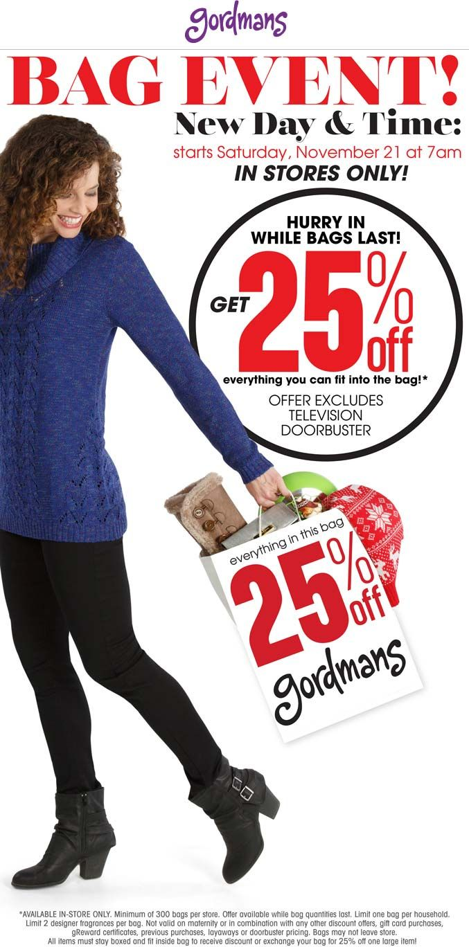 Pinned November 20th: 25% off whatever fits in the bag at Gordmans #coupon via The #Coupons App
