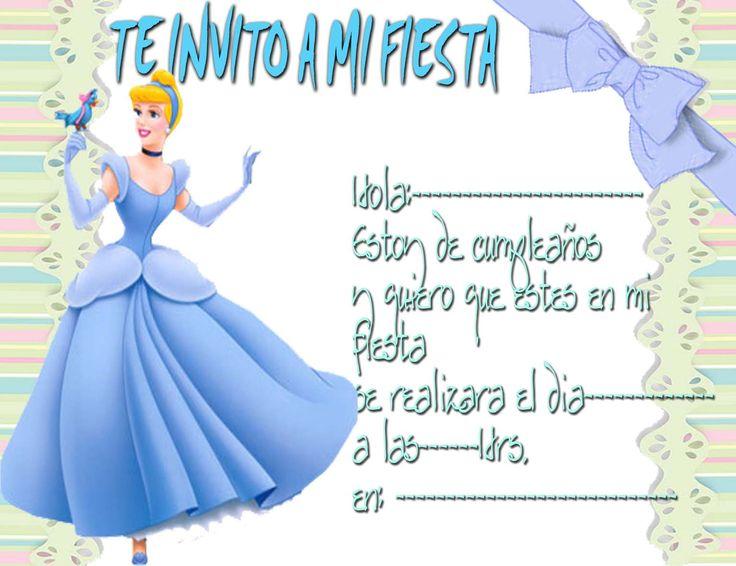 invitacion cinderela disney Tarjetas de cumpleaños princesas princesa cenicienta copia