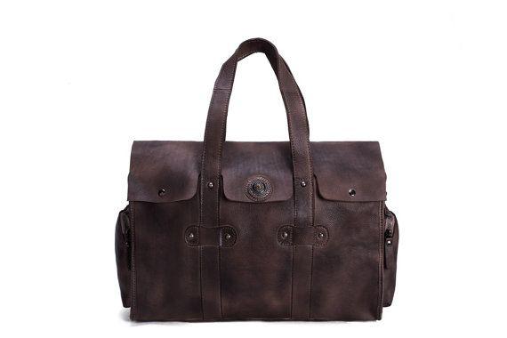 Handmade Vegetable Tanned Leather Mens Overnight Bag, Tote Bag, Shoulder Bag, Travel Bag