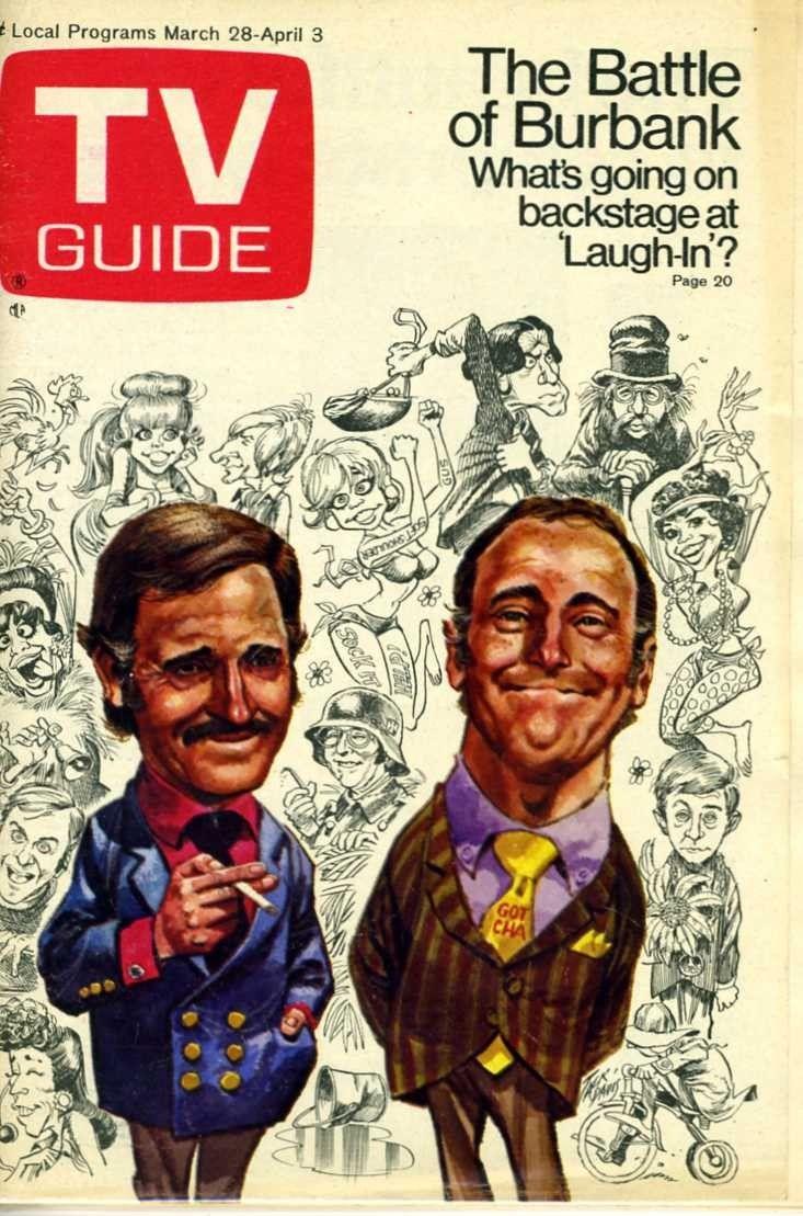 tv  guide  covers   TV GUIDE MARCH 1970 ROWAN AND MARTIN - COVER - Television Memorabilia