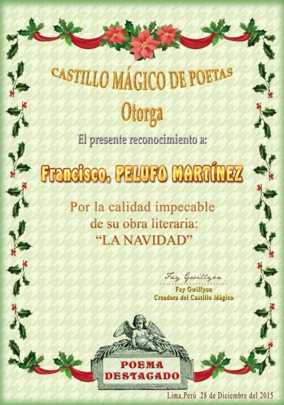 Mi agradecimiento a CASTILLO MÁGICO DE POETAS por conceder el presente reconocimiento.