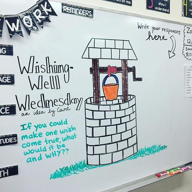 Tomorrow's #miss5thswhiteboard idea is brought to you by a student of mine. #wishingwellwednesday #studentinput #definitelynotanartist #iteachfifth #teachersfollowteachers #teachersofinstagram