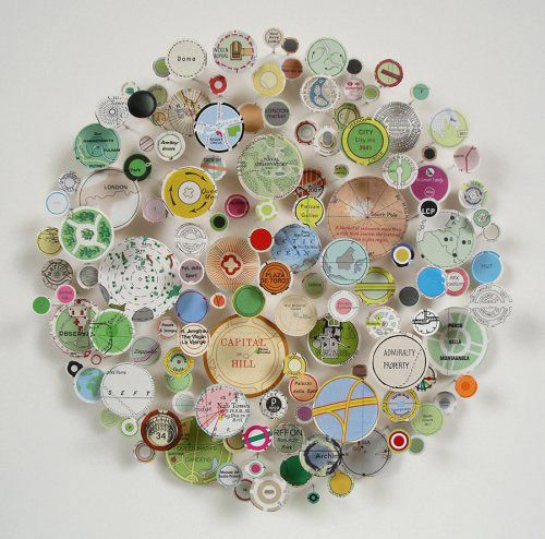 beautiful: Inspiration, Maps, Art Ideas, Collage, Circle, Craft Ideas