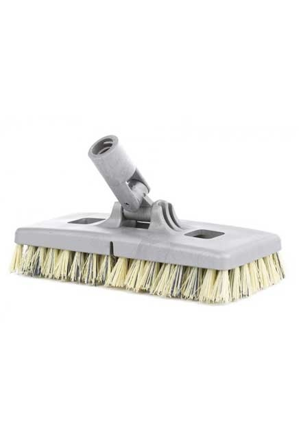 General purpose swivel scrub: Floor scrub brush with synthetic fibers and a swivel connector.