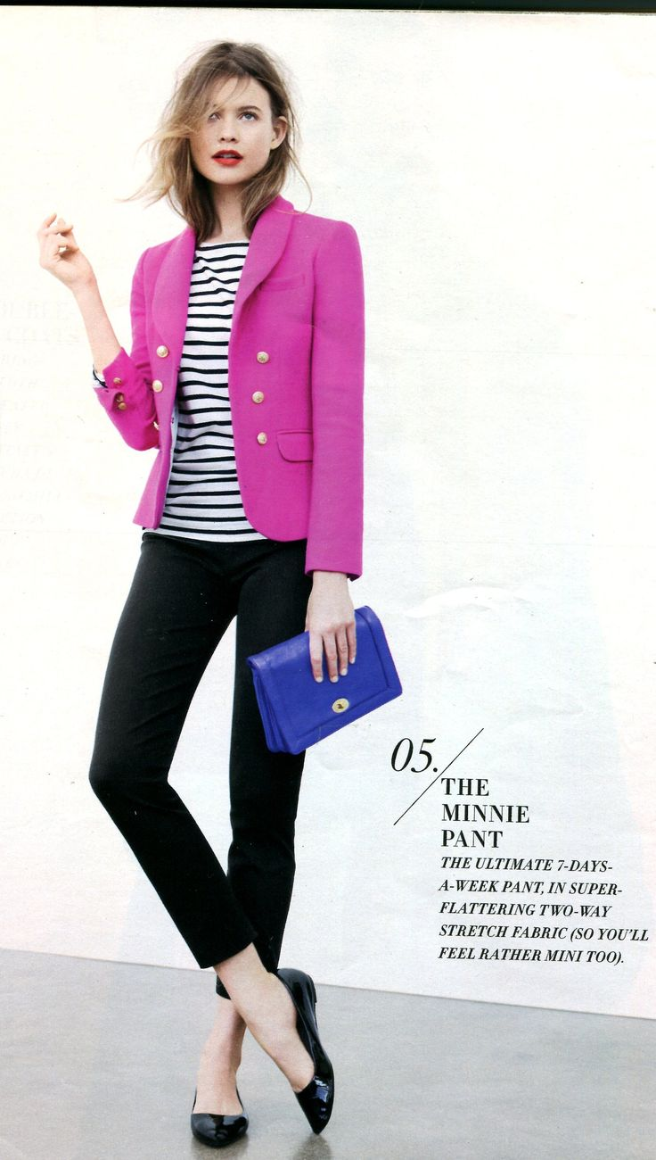J.Crew - Striped tee, black Minnie pant, black ballet flats and contrasting pink jacket