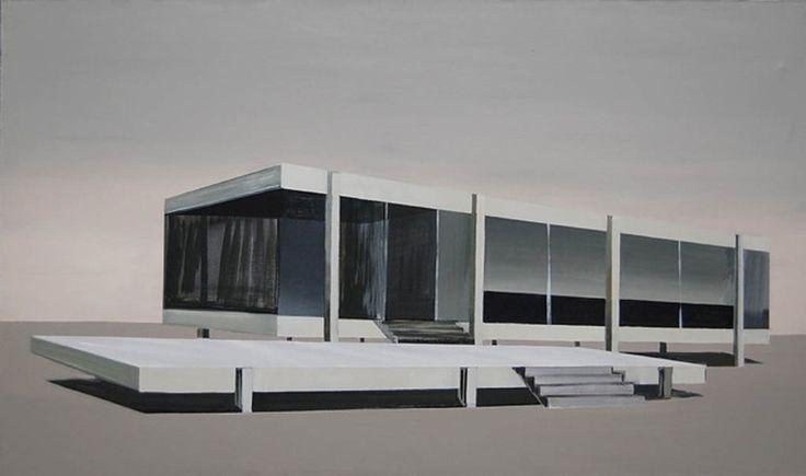Kiesner Maria, Winter, acrylic on canvas, modern architecture, modernist architecture, architecture on paitning, black and white, black, modern art, polish art