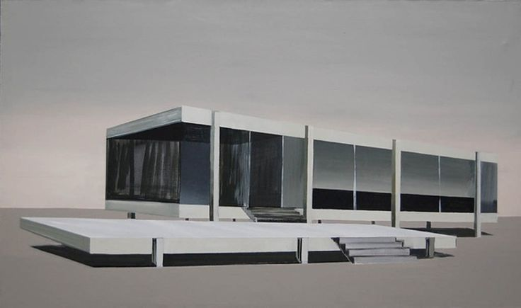 Kiesner Maria, Winter, acrylic on canvas, modern architecture, modernist architecture, architecture on paitning, black and white, black, modern art, polish art