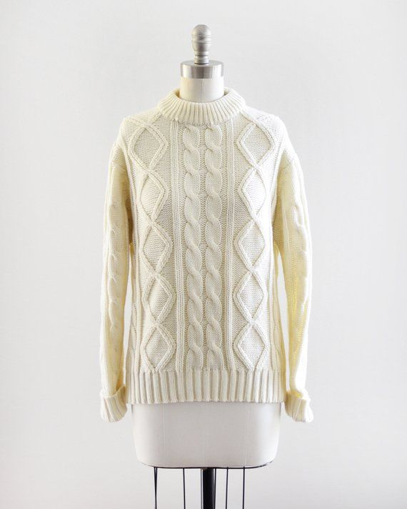 Vintage 70s fishermen OFF White cozy Cable Knit Sweater 1970s minimalist norm-core cable knit mock neck wool sweater