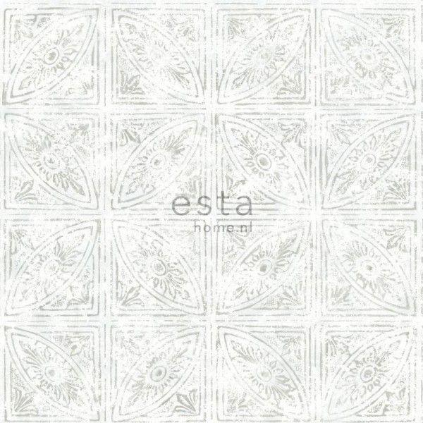 148335 krijtverf eco texture vliesbehang tegelmotief licht grijs