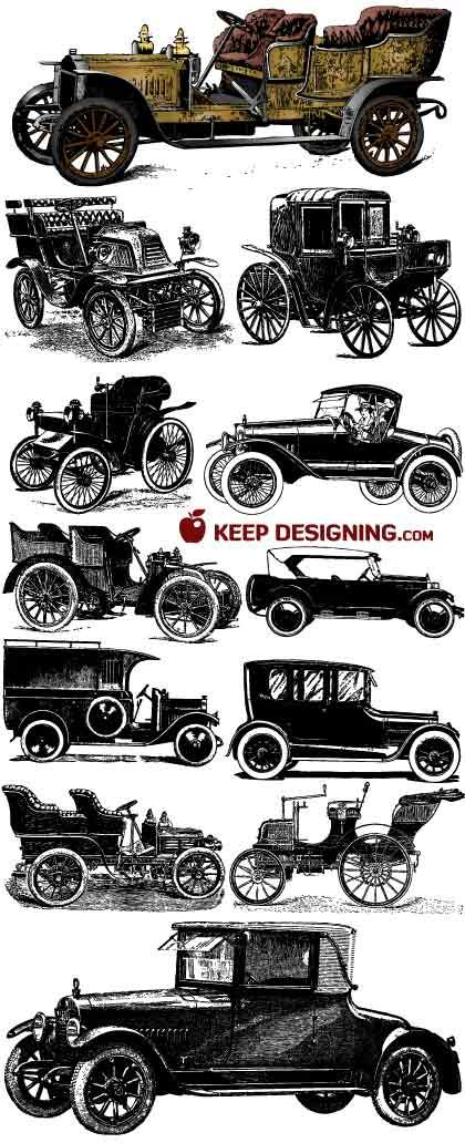 """Some fantastic, """"Great Gatsby"""" public domain Vintage Car Vectors found on """"Keep Designing."""""""