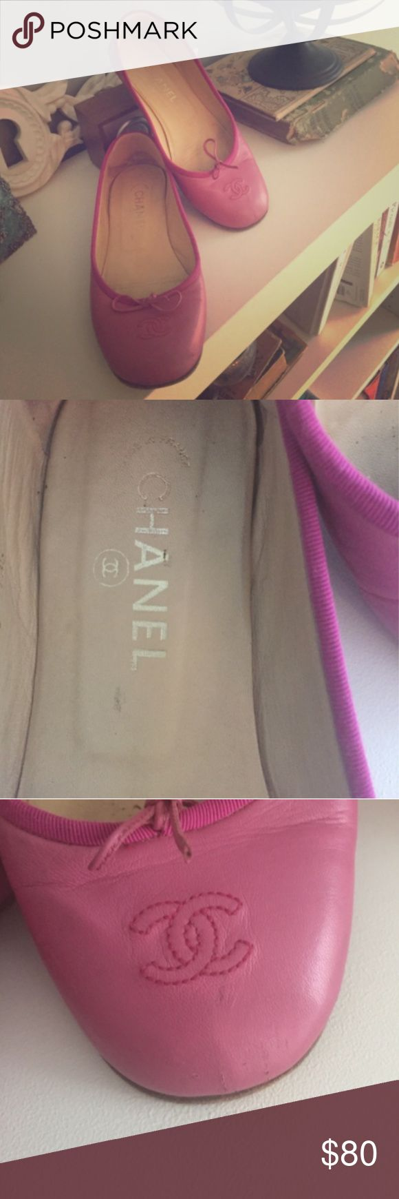 Chanel Flats Pre-loved Chanel flats! They are a light magenta/pink color. Some wear, mostly to the toe. When worn, not that visible, but please see pictures. Feel free to ask questions! 😊 Size 40 but fits like a 9. PLEASE NOTE: Price is pretty firm.  I bought these on poshmark and they are in good condition, just a little wide for my feet :) CHANEL Shoes Flats & Loafers