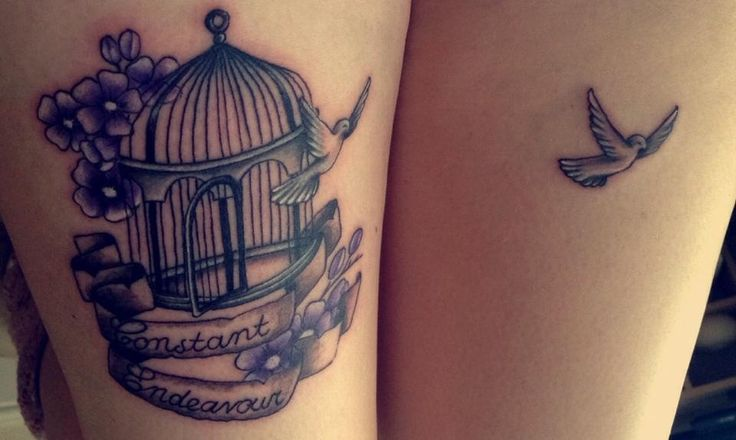 Dove flying out of bird cage tattoo idea across both wrists