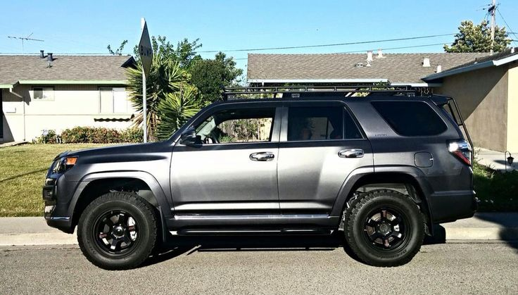 Gray 4Runner with roof rack , lift and wheels | 4runner ...