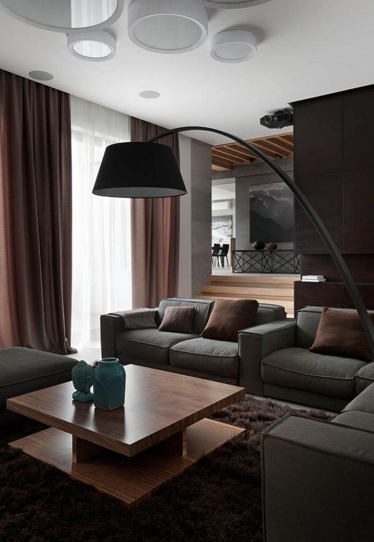 Gray sofas summer cottage in dnepropetrovsk ukraine redesigned by sergey gotvyanskys