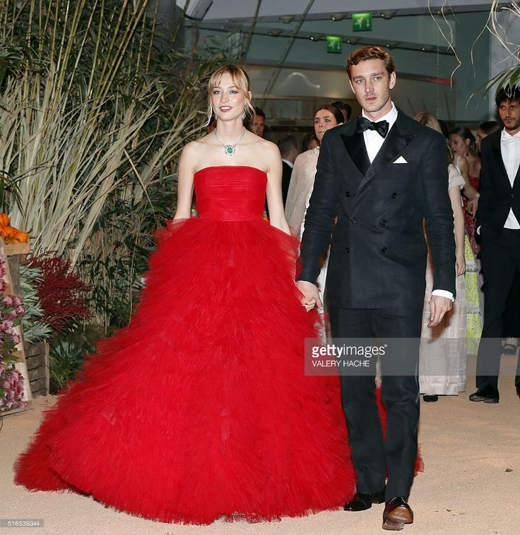 Pierre Casiraghi (R) and his wife Beatrice arrive for the annual Rose Ball at the Monte-Carlo Sporting Club in Monaco, on March 19, 2016. The Rose Ball is one of the major charity events in Monaco. Created in 1954, it benefits the Princess Grace Foundation.  / AFP / VALERY HACHE        (Photo credit should read VALERY HACHE/AFP/Getty Images)