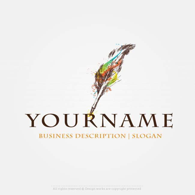 Create a Logo – feather pen logo template