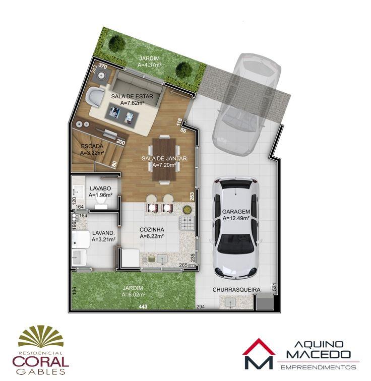 Planta Térreo - Residencial Coral Gables - Atuba - Curitiba/PR