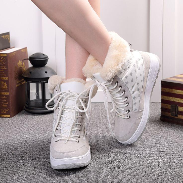2016 новый женщин зимняя обувь плюшевые теплый леди обуви плюс размер 35 41 белый цвет леди короткие ботинки женщин зимние теплые сапоги купить на AliExpress