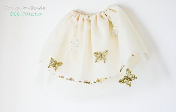 Tulle and Butterfly Skirt Baby and Toddlers by MollylovesBowieKIDS, kids clothing