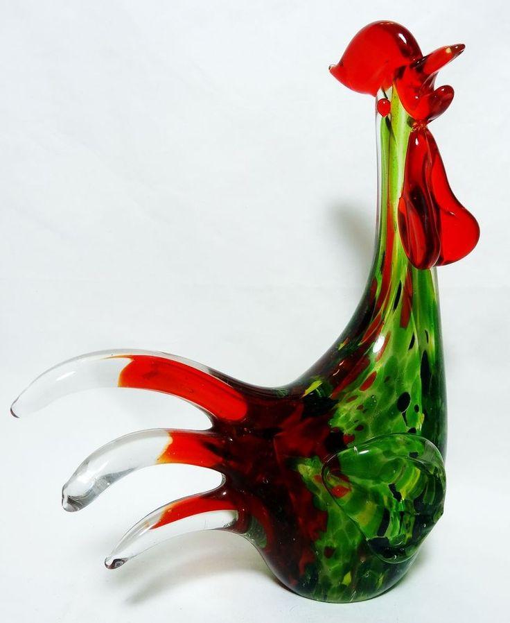 Vintage Murano Art Glass Rooster Adventurine Tutti Fruitti