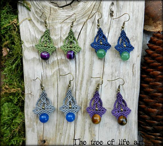 Macrame earrings with semi-precious stones/Boho