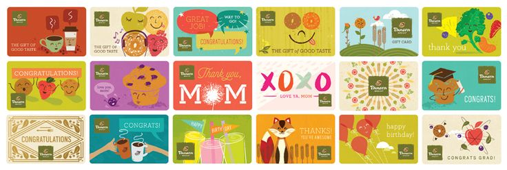 Panera Bread wanted to drive gift card promotion awareness for anyone looking for Mother's Day and graduation gifts in the month of May. They asked Willoughby to lend our illustrative talents to creating a variety of cards to be sold in-store and online. Each card celebrates Panera's brand in a fun whimsical way.