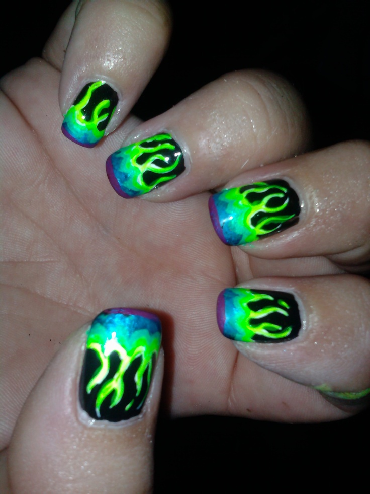 Flame Design On Nails - #GolfClub