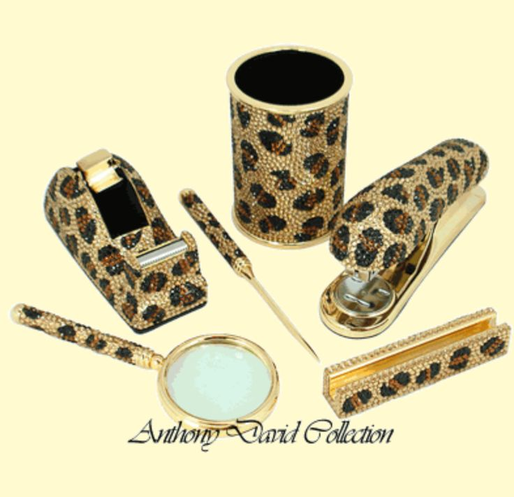 Anthony David® 6 Pc Executive Desk Set With Swarovski Crystal   Leopard.png  (