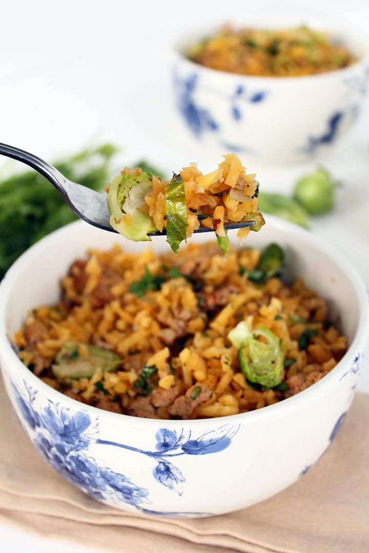 Brussels Sprout Rutabaga Rice with Chicken Sausage