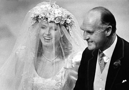 The Duchess was unusual for wearing a floral headdress when she went up the aisle and then removing it to reveal a tiara ( a present from the Queen ) after the wedding ceremony was over. This was supposed to symbolise her transition from commoner to princess or as Sarah herself put it: 'I had stepped up as the country girl; I would walk back as a princess.'
