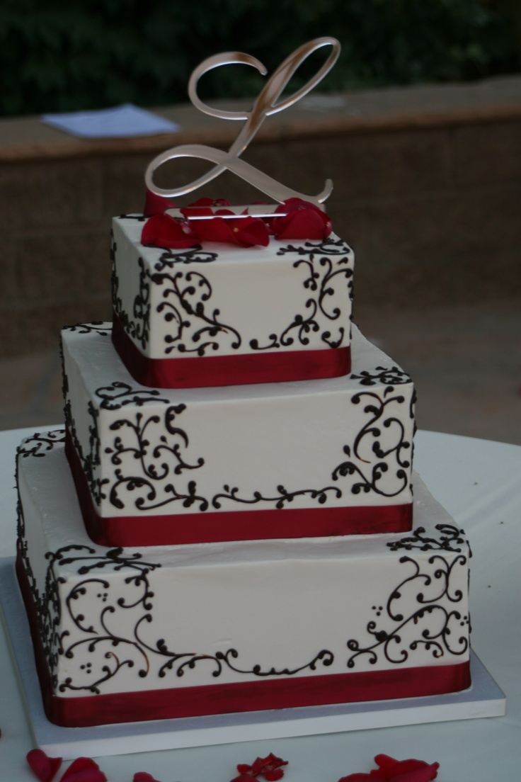 square black and white wedding cakes pictures%0A Red  Black   u     White Wedding Cake