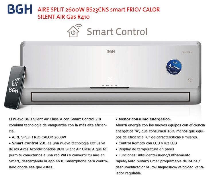 BGH AIRE SPLIT 2600 BS23CNS smart CALOR SILENT AIR Gas R410