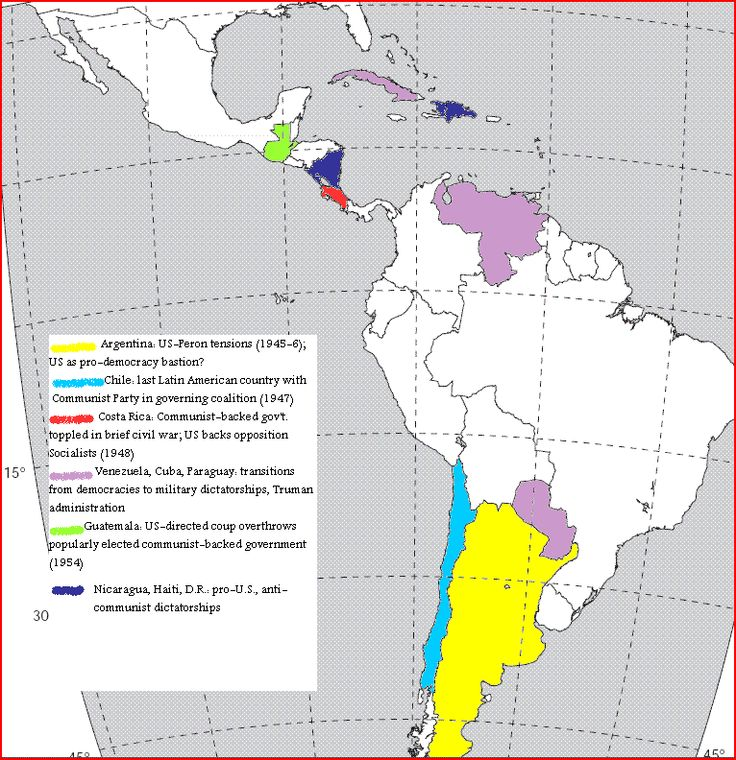 Map Of U S Cold War Intervention Alliances In Latin America Under Truman And Eisenhower History Pinterest Latin America Cold War And Latin American