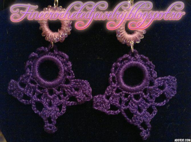crochet lace chandelier earrings www.finecrochetedjewelry.blogspot.ro