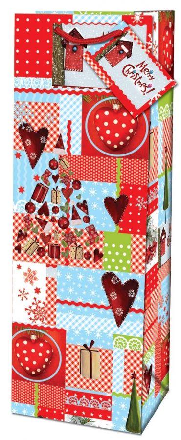 Vánoční dárková taška na lahev - Feliz Navidad č. 214516 TB