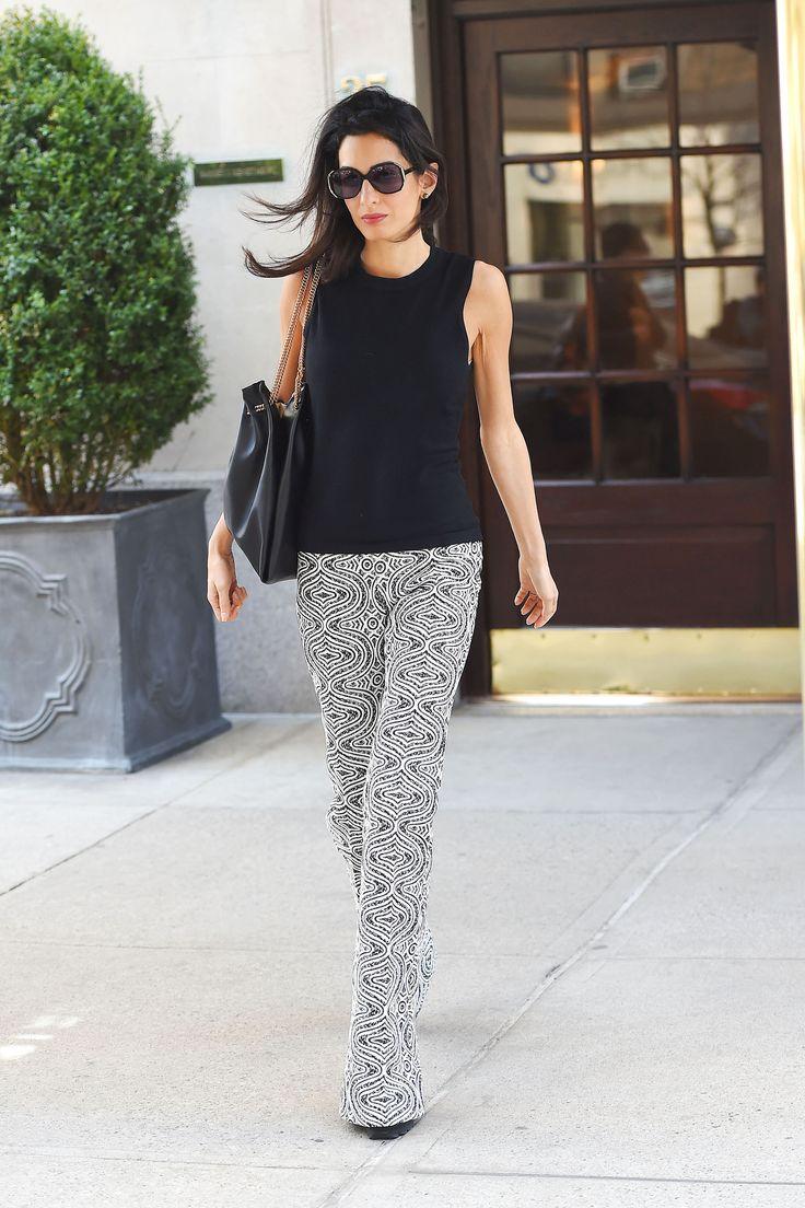 Amal Clooney style: What:  Giambattista Valli pants When: April 17, 2015 Where: NYC   - HarpersBAZAAR.com