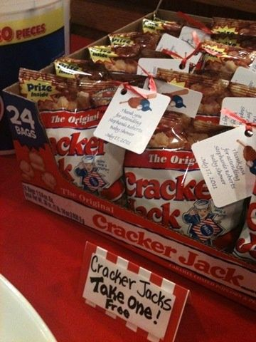 Baseball themed shower- Cracker Jack favors