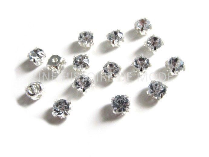 Lot de 20 strass sertis à coudre couleur cristal blanc de 5 mm