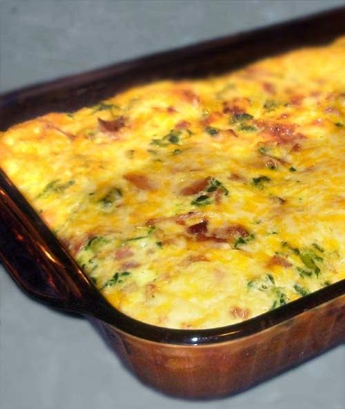 Low Carb Breakfast Recipe with Cheesy Bacon and Eggs. A High Protein Casserole.