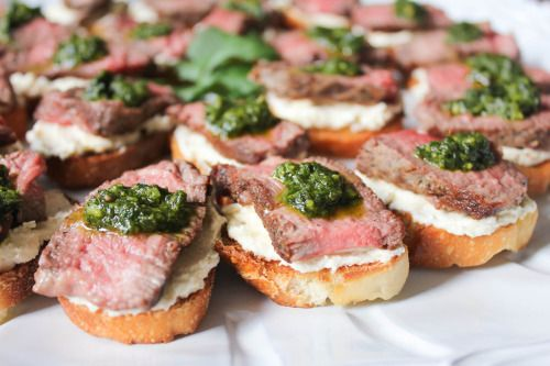 Beef Tenderloin Crostini with Whipped Goat Cheesewith recipe (link)