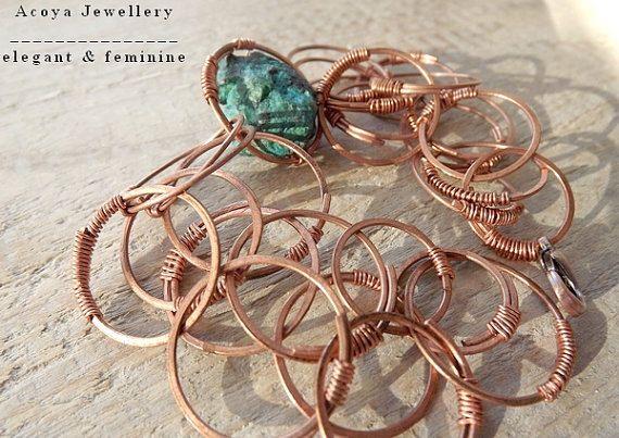 Copper bracelet with chrysocolla copper bracelet by AcoyaJewellery