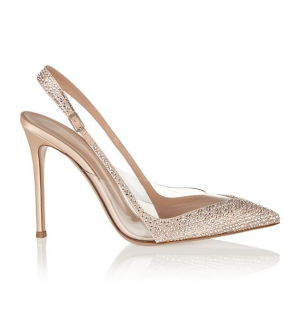 Embellished satin and PVC sling-backs from Ginvito Rossi on Preston Bailey's Bride Ideas